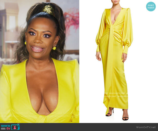Dane Gathered Draped Column Gown by Alex Perry worn by Kandi Burruss  on The Real Housewives of Atlanta