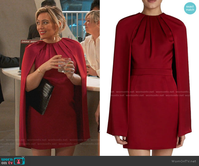 Cape Silk Mini Dress by Alexander McQueen worn by Kelsey Peters (Hilary Duff) on Younger