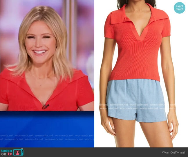 Daralee Ribbed Fitted Polo Sweater by Alice + Olivia worn by Sara Haines  on The View
