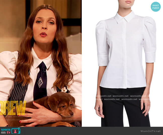 Willa Scrunched Puff-Sleeve Placket Top by Alice + Olivia worn by Drew Barrymore  on The Drew Barrymore Show