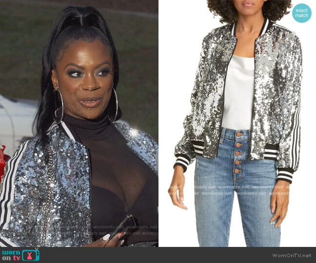 Lonnie Sequin Cropped Bomber Jacket by Alice + Olivia worn by Kandi Burruss  on The Real Housewives of Atlanta