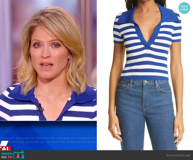 Daralee Fitted Short-Sleeve Polo Top by Alice + Olivia worn by Sara Haines  on The View