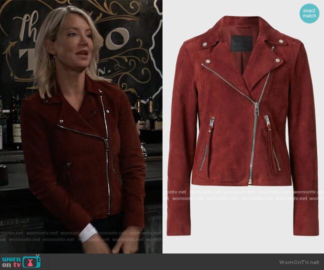 X Dalby Suede Moto Jacket by All Saints worn by Nina Reeves (Cynthia Watros) on General Hospital