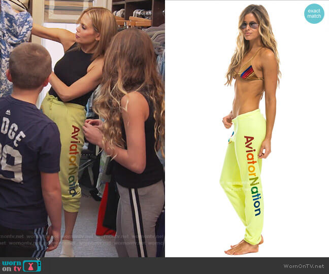 Sweatpants by Aviator Nation worn by Jackie Goldschneider  on The Real Housewives of New Jersey