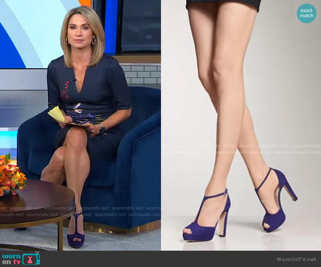 Baileigh Ultra Violet Suede Sandals by L.K. Bennett worn by Amy Robach  on Good Morning America