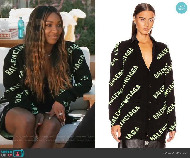 Long Sleeve Logo Cardigan by Balenciaga worn by Malika on Keeping Up with the Kardashians
