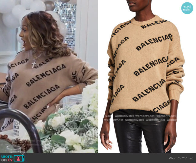 Wool Logo Long-Sleeve Crewneck Sweater by Balenciaga worn by Drew Sidora  on The Real Housewives of Atlanta
