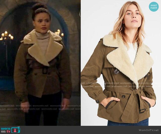 Banana Republic Heritage Sherpa-Collar Jacket worn by Maggie Vera (Sarah Jeffery) on Charmed
