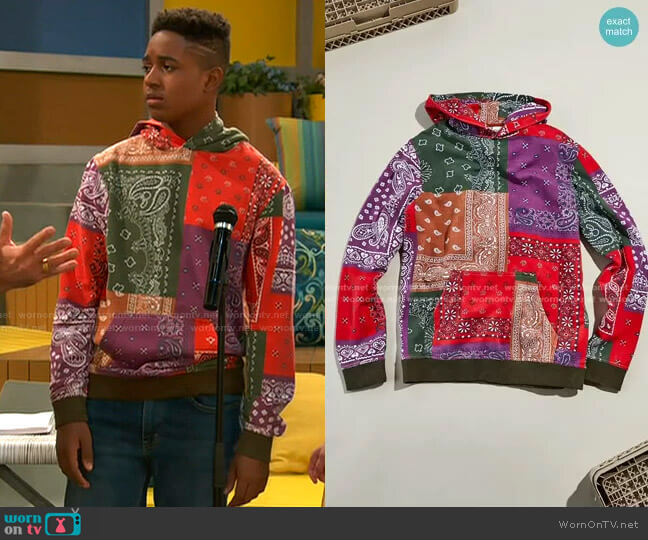 Bandana Hoodie Sweatshirt by BDG worn by Booker Baxter (Issac Ryan Brown) on Ravens Home