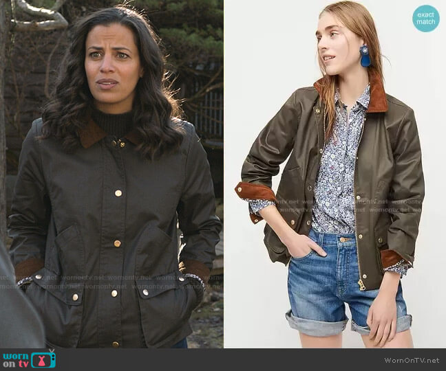 Barn Jacket with Liberty floral print by J. Crew worn by Grace Stone (Athena Karkanis) on Manifest