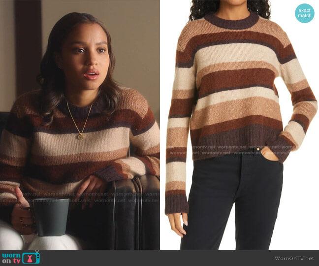 Stripe Wool Blend Sweater by BAUM UND PFERDGARTEN worn by May Grant (Corinne Massiah) on 9-1-1