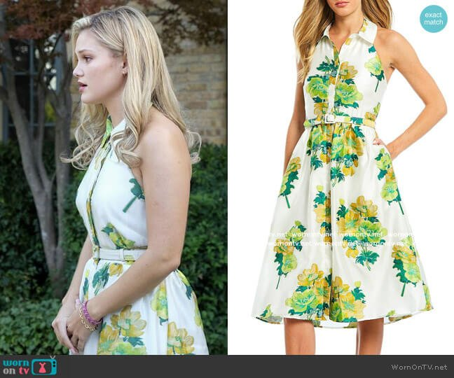 Belle Badgley Mischka Floral Print Halter Neck Belted Midi Shirt Dress worn by Kate Wallis (Olivia Holt) on Cruel Summer