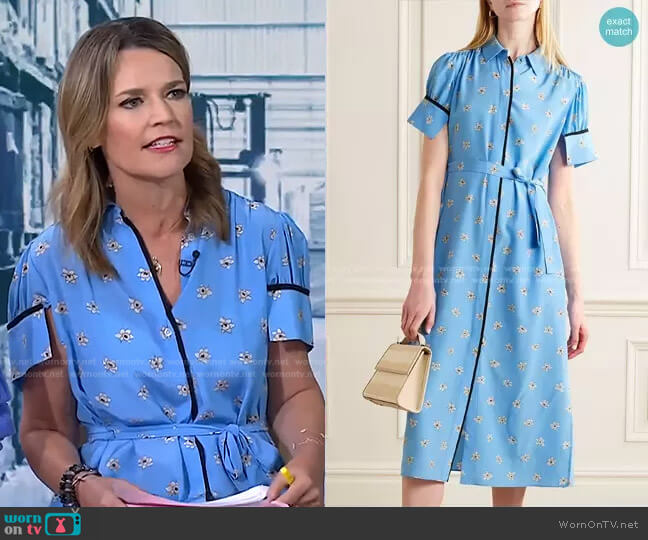 Belted Floral-Print Midi Shirt Dress by Jason Wu worn by Savannah Guthrie  on Today
