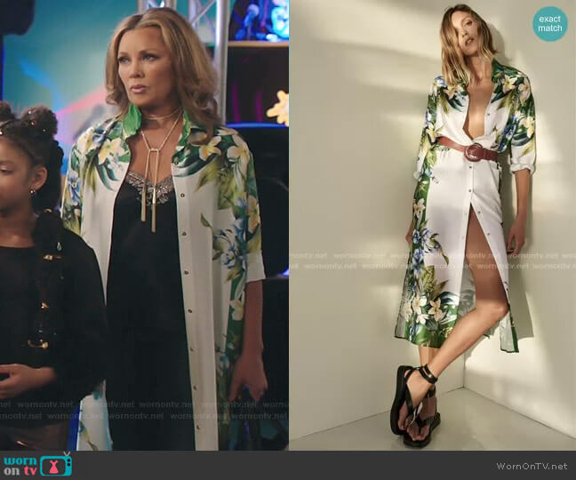 Belted Shirt Dress by Zara worn by Vanessa Williams on Kenan