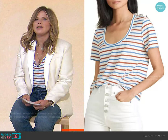 Benji Stripe Linen T-Shirt by Veronica Beard worn by Jenna Bush Hager  on Today