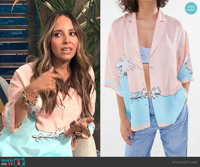 Satin Printed Oversize Shirt by Bershka worn by Lilliana Vazquez  on E! News