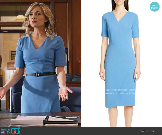 Daissa Faux Wrap Dress by BOSS worn by Amy Quinn (Lindsey Gort) on All Rise