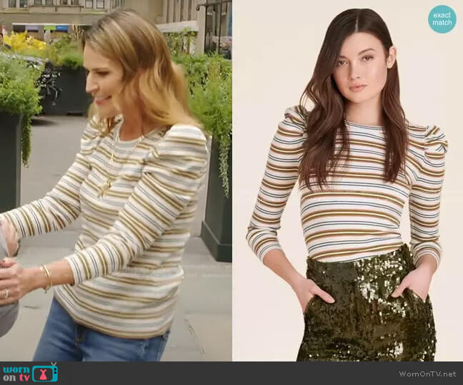 Britney Puff-Sleeve Striped Top by Veronica Beard worn by Savannah Guthrie  on Today
