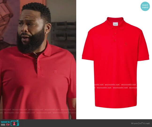 Monogram Motif Cotton Pique Polo Shirt by Burberry worn by Andre Johnson (Anthony Anderson) on Blackish