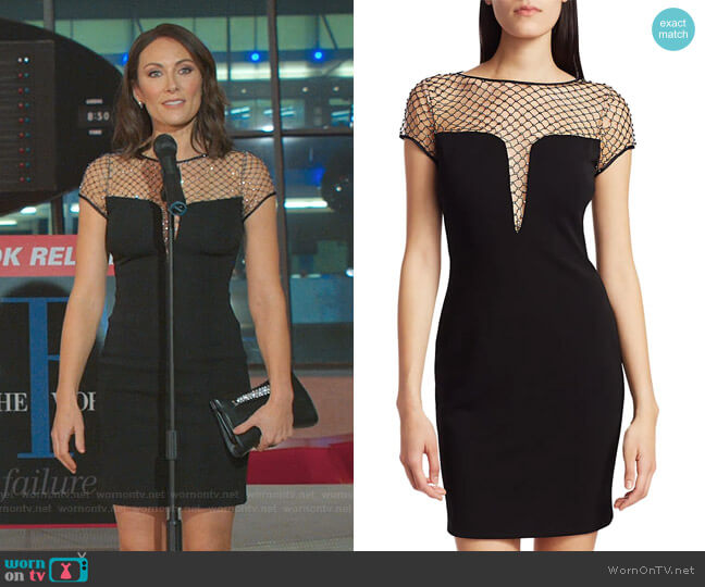Studded Mesh Illusion Sheath Dress by CDGNY by CD Greene worn by Quinn (Laura Benanti) on Younger