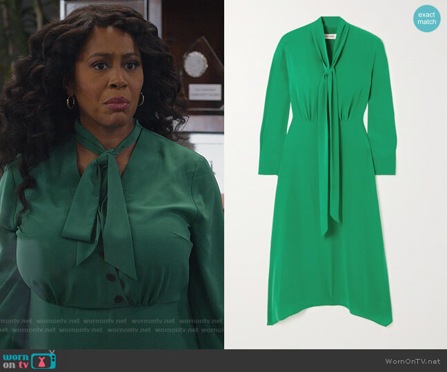 Aurora button and tie-detailed woven midi dress by Cefinn worn by Lola Carmichael (Simone Missick) on All Rise