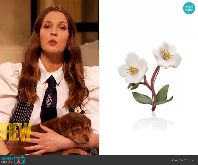 Ceramic and Gem-Set Flower Brooch by Luz Camino worn by Drew Barrymore  on The Drew Barrymore Show