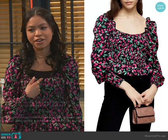 Cherry Smocked Prairie Blouse by Topshop worn by Nia Baxter (Navia Robinson) on Ravens Home