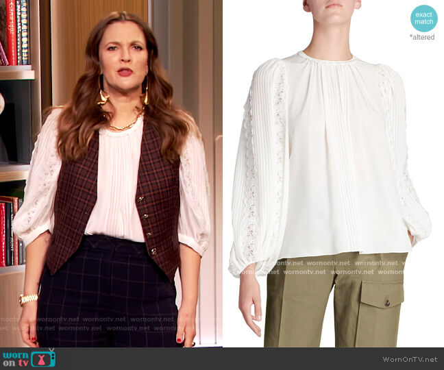 Silk Georgette Lace-Sleeve Top by Chloe worn by Drew Barrymore  on The Drew Barrymore Show