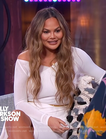 Chrissy Teigen white sheer slit dress on The Kelly Clarkson Show