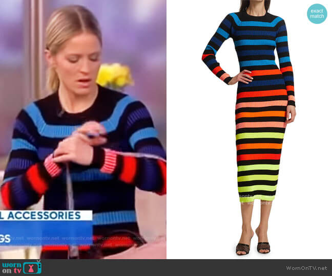 Rainbow Striped Ribbed Midi Dress by Christopher John Rogers worn by Sara Haines  on The View