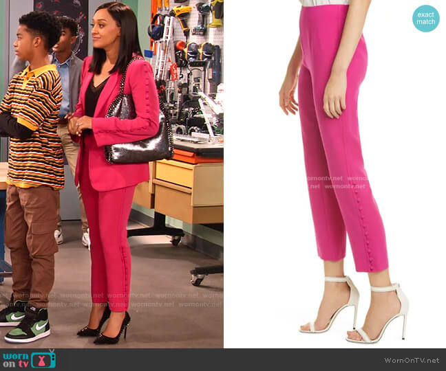 Lida Cropped Straight Leg Pants by Cinq a Sept worn by Cocoa McKellan (Tia Mowry-Hardrict) on Family Reunion