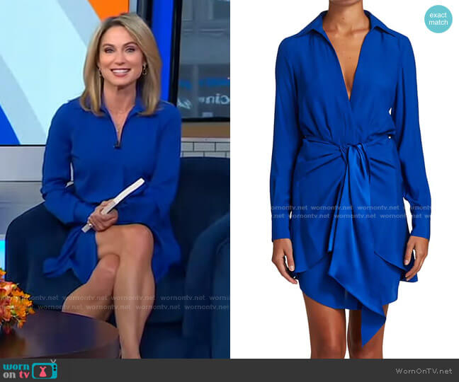 Harper Twist-Front Shirtdress by Derek Lam 10 Crosby worn by Amy Robach  on Good Morning America
