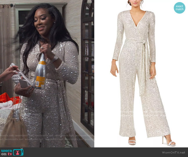 Silver Long-Sleeve Jumpsuit by Eliza J worn by Kenya Moore  on The Real Housewives of Atlanta