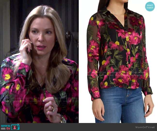 Eloise Burnout Floral Shirt by Alice + Olivia worn by Jennifer Horton (Cady McClain) on Days of our Lives