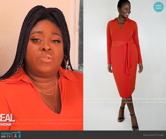 Tie Waist Dress with Collar by Eloquii worn by Loni Love  on The Real
