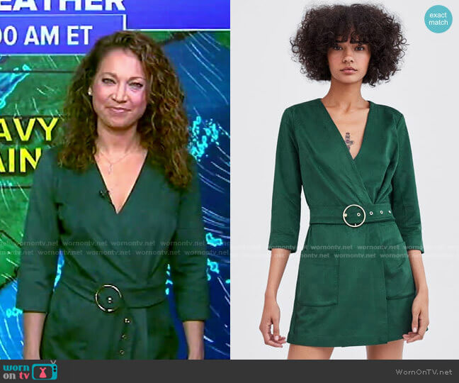 Faux Suede Jumpsuit by Zara worn by Ginger Zee  on Good Morning America