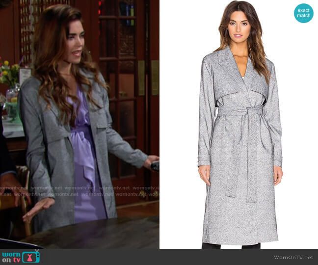 Finders Keepers Get Up Trench Jacket worn by Victoria Newman (Amelia Heinle) on The Young & the Restless