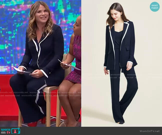 Fluid Crepe Blazer and Pant by Pearl by Lera Rose worn by Jenna Bush Hager  on Today