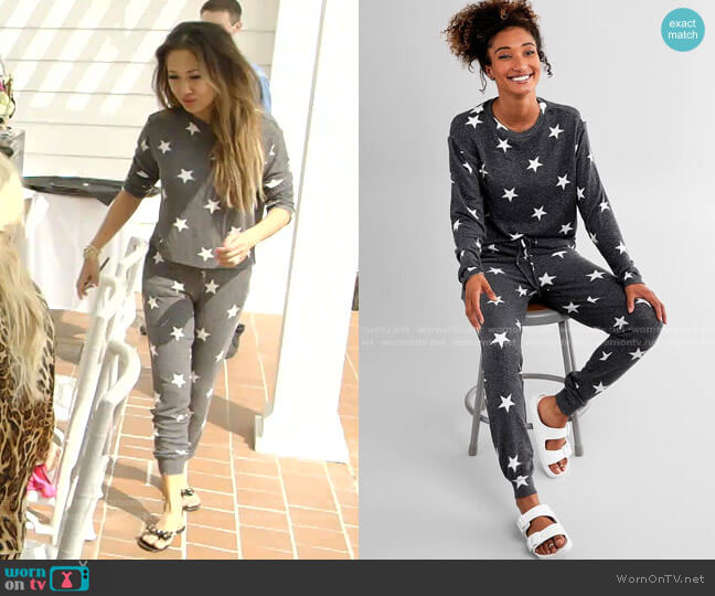 Star Print Sweatshirt and Jogger by Fornia worn by Tiffany Moon  on The Real Housewives of Dallas
