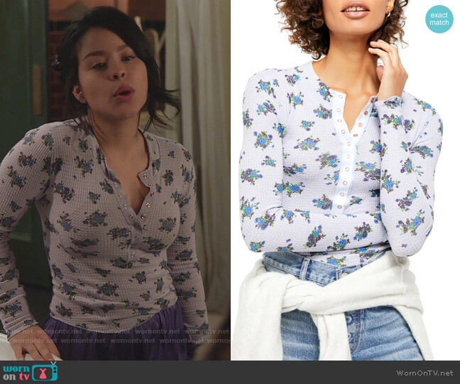 One of the Girls Floral Thermal Henley by Free People worn by Mariana Foster (Cierra Ramirez) on Good Trouble