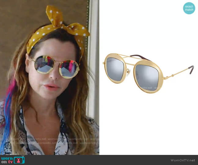 GG Round Sunglasses in Gold by Gucci worn by D'Andra Simmons  on The Real Housewives of Dallas