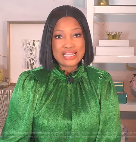 Garcelle's green paisley satin blouse on The Real