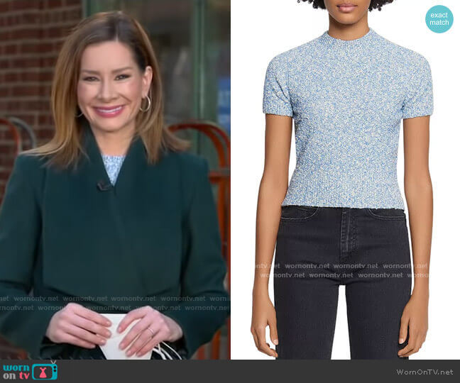 Ginna Marled-Knit Short-Sleeve Sweater by Sandro worn by Rebecca Jarvis  on Good Morning America