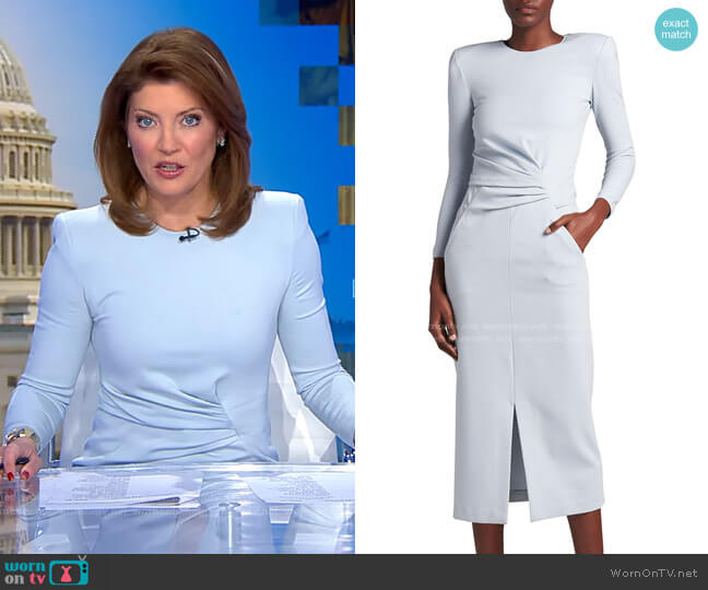 Draped Front-Slit Jersey Knit Dress by Giorgio Armani worn by Norah O'Donnell  on CBS Evening News