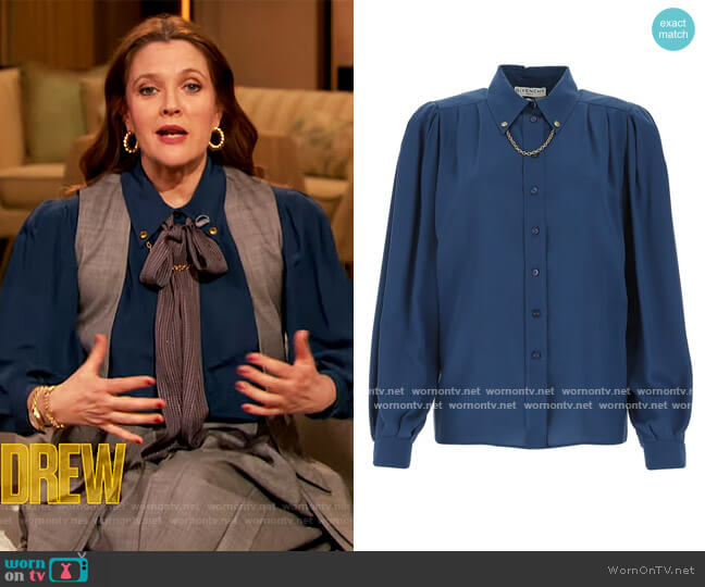 Silk Crepe Shirt with Chain by Givenchy worn by Drew Barrymore  on The Drew Barrymore Show