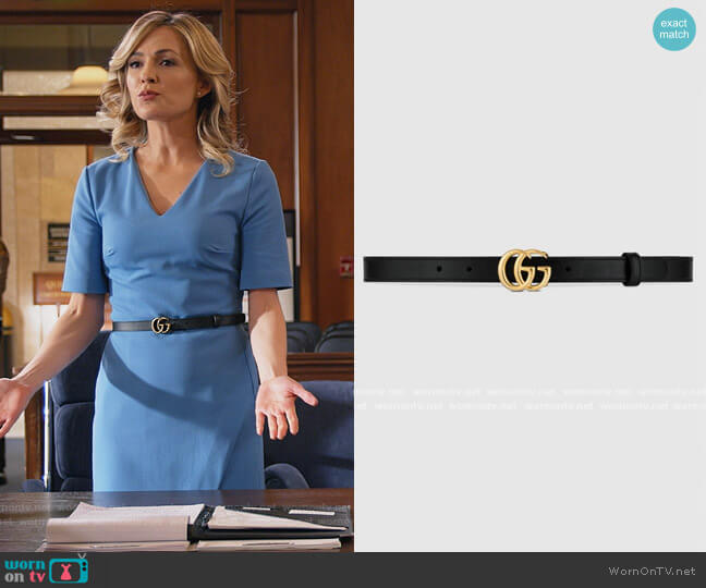 GG Marmont Thin Leather Belt by Gucci worn by Amy Quinn (Lindsey Gort) on All Rise