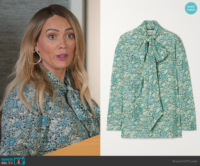 Liberty floral print blouse by Gucci worn by Kelsey Peters (Hilary Duff) on Younger