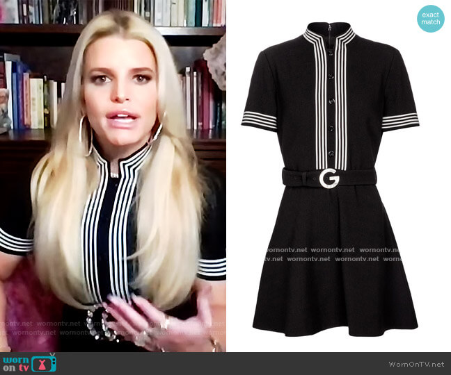 Wool crepe minidress by Gucci worn by Jessica Simpson on The Drew Barrymore Show