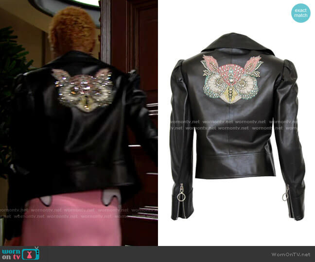 Gucci Leather jacket with embroidered/crystal owl design worn by Paris Buckingham (Diamond White) on The Bold & the Beautiful