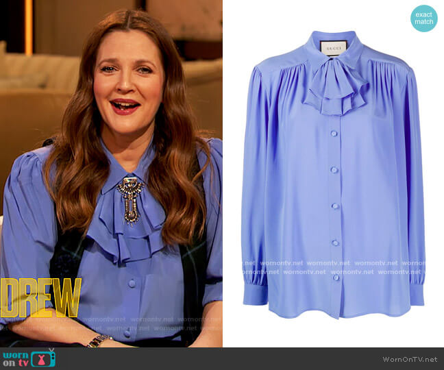Detachable-ruffle silk-crepe blouse by Gucci worn by Drew Barrymore  on The Drew Barrymore Show